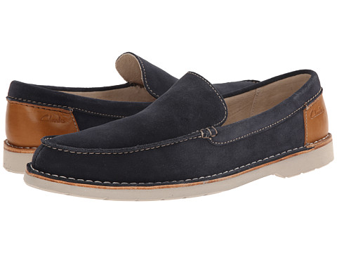 Clarks - Hinton Sun (Navy Suede) Men's Slip on Shoes