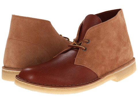 Clarks - Desert Boot (Tan Combi Suede/Leather) Men's Lace-up Boots