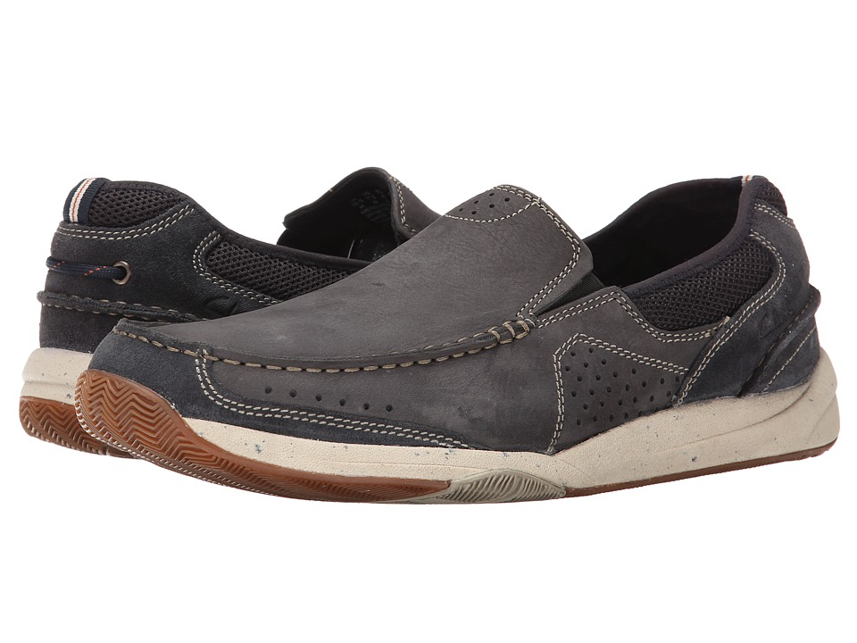 Clarks - Allston Free (Navy Nubuck) Men's Slip on Shoes