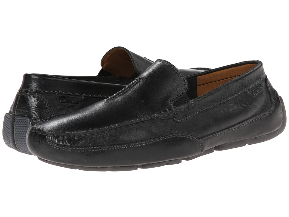 Clarks - Ashmont Race (Black Smooth) Men's Slip on Shoes