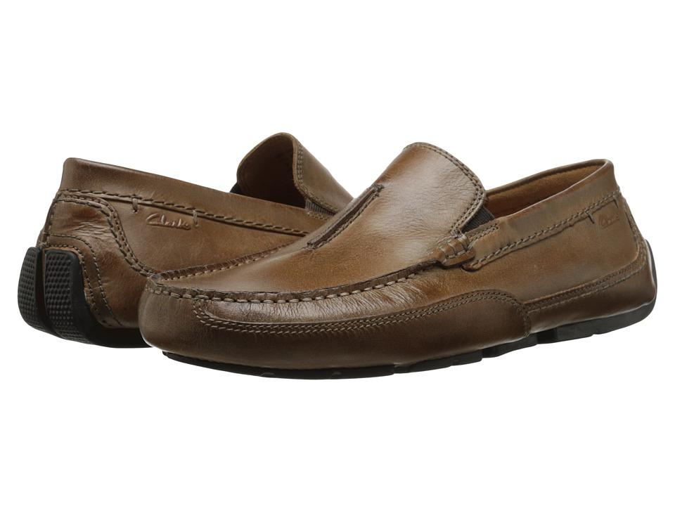 Clarks - Ashmont Race (Tan Leather) Men's Slip on Shoes