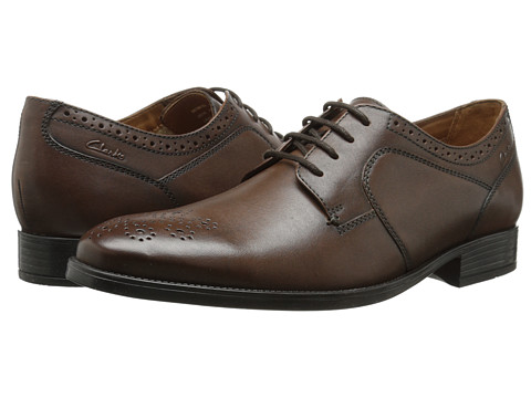 Clarks - Kalden Edge (Brown Leather) Men's Lace Up Cap Toe Shoes