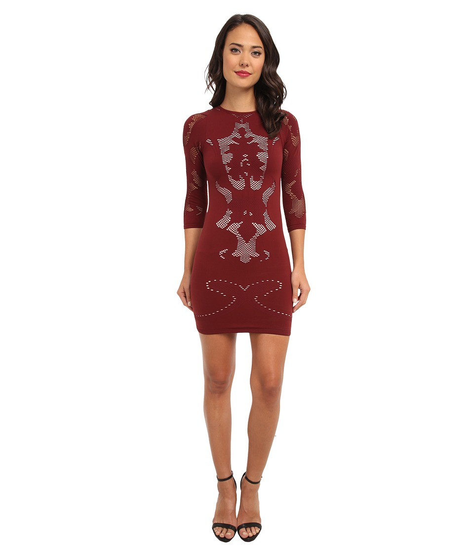 Free People - Placed Cutwork Slip (Burgundy Combo) Women's Dress