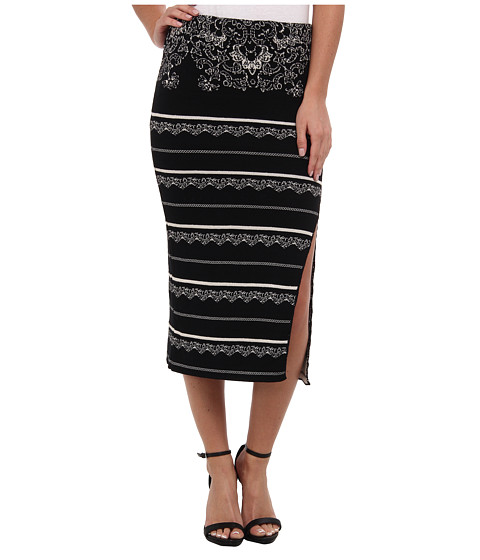 Free People - Swit Pencil Skirt (Black Combo) Women