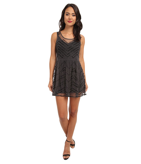 Free People - Embellished Slip (Charcoal) Women's Clothing