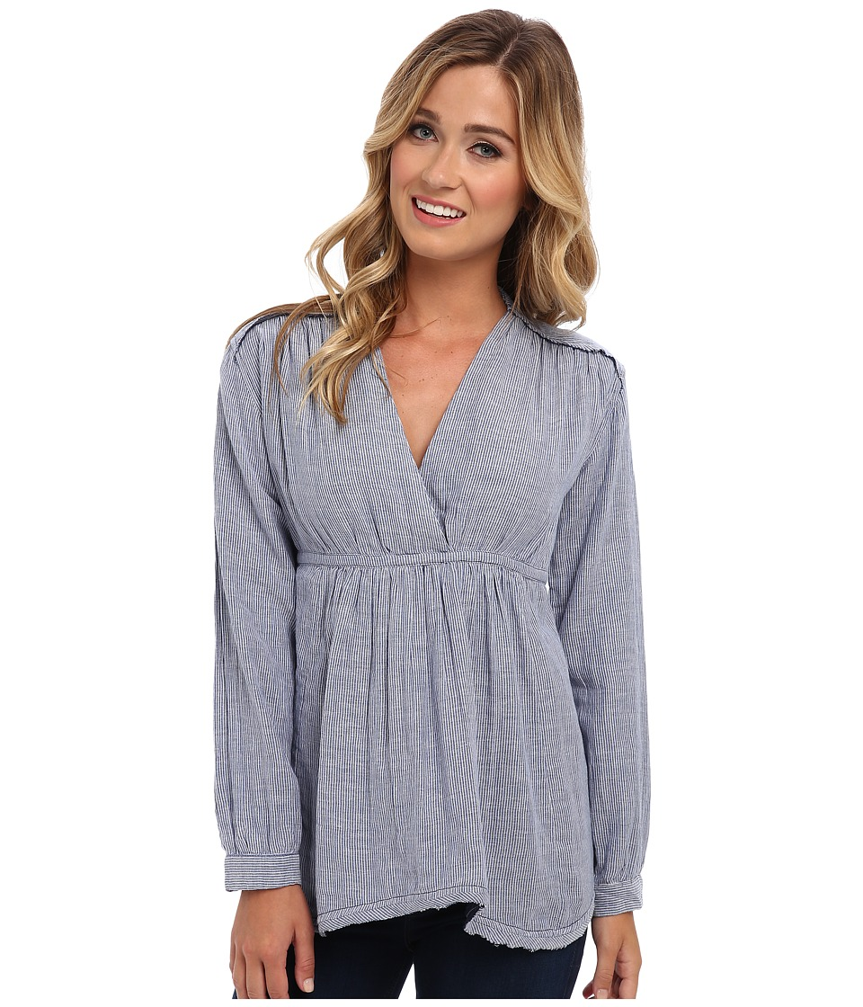 Free People - All Who Wander Top (Blue Stripe Combo) Women's Long Sleeve Pullover