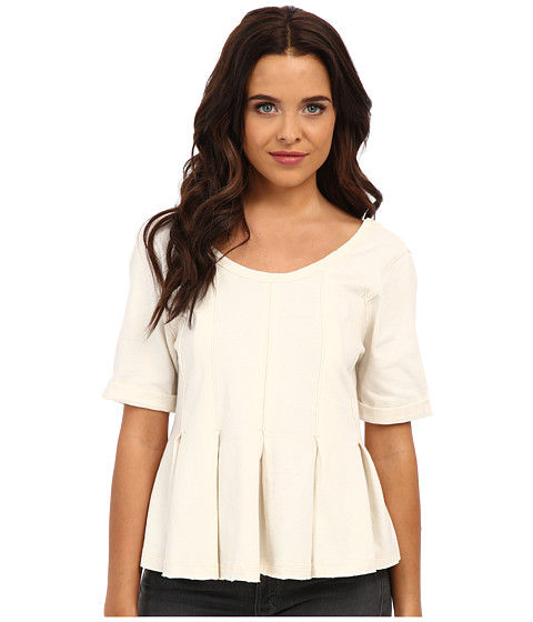 Free People - Drifter Pleated Tee (Cream) Women's T Shirt