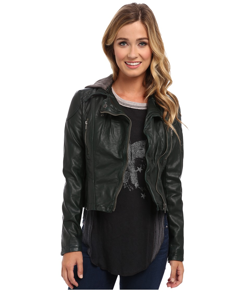 Free People - Hooded Vegan Moto Jacket (Green) Women's Coat