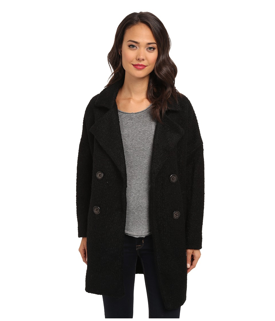 Free People - Mid Thigh Overcoat Jacket (Black) Women's Coat