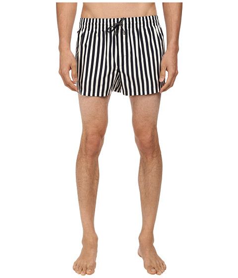 Dolce & Gabbana - Vertical Stripe Swim Trunk (White/Navy) Men's Swimwear