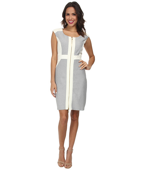 Christin Michaels - Sleeveless Parker Twill Dress (Black/White/Ivory) Women