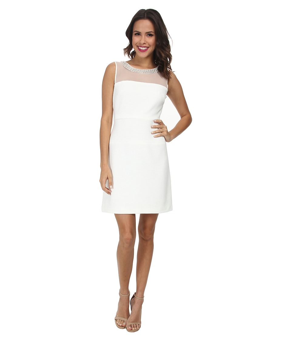 Christin Michaels - Ottoman Mesh Fit and Flare Dress (Ivory) Women's Dress