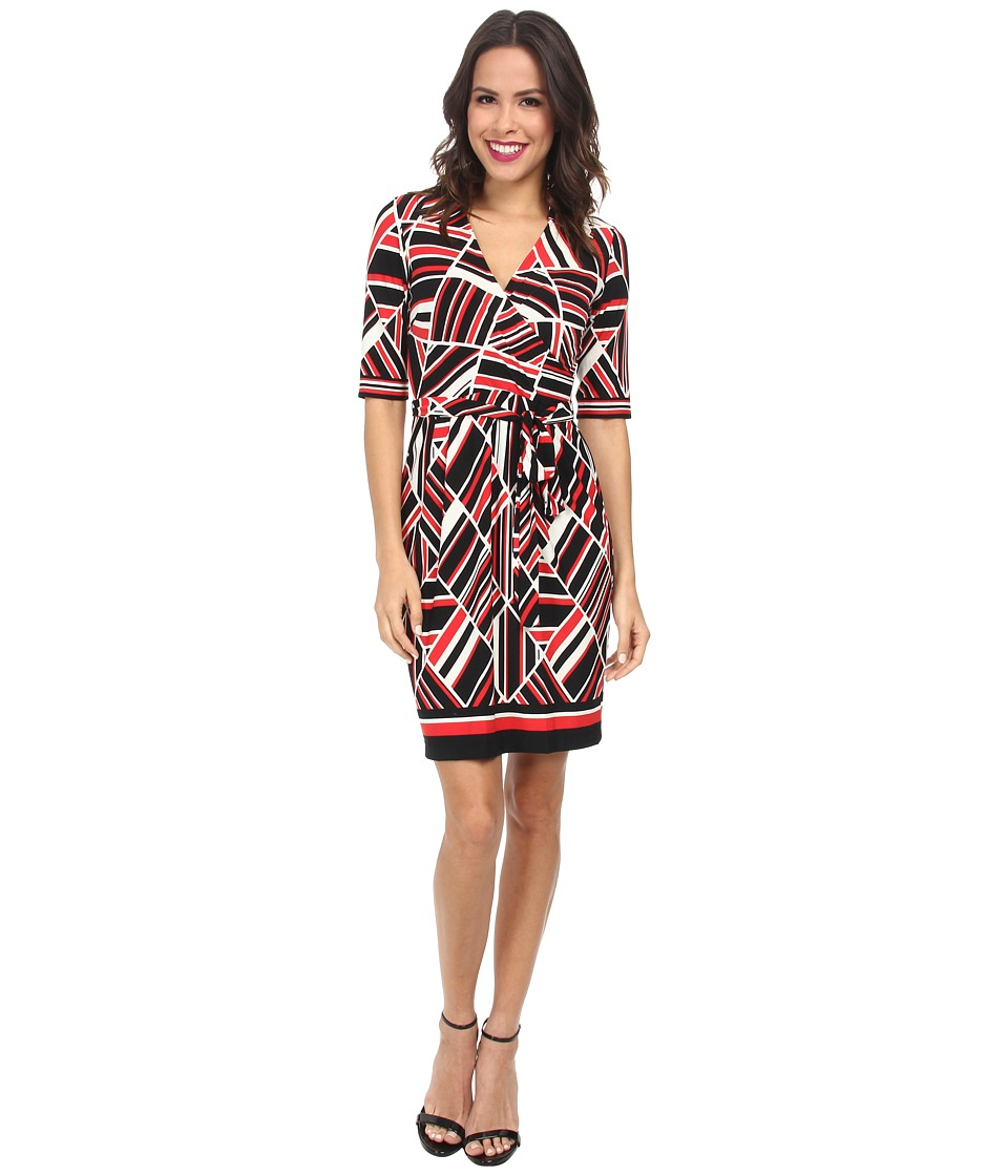 Christin Michaels - Johnny Collar Wrap Dress (Ivory/Red/Black) Women's Dress