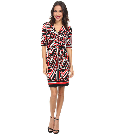 Christin Michaels - Johnny Collar Wrap Dress (Ivory/Red/Black) Women