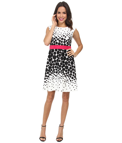 Christin Michaels - Fit and Flair Polka Dot Dress (Ivory/Black/Fuchsia) Women