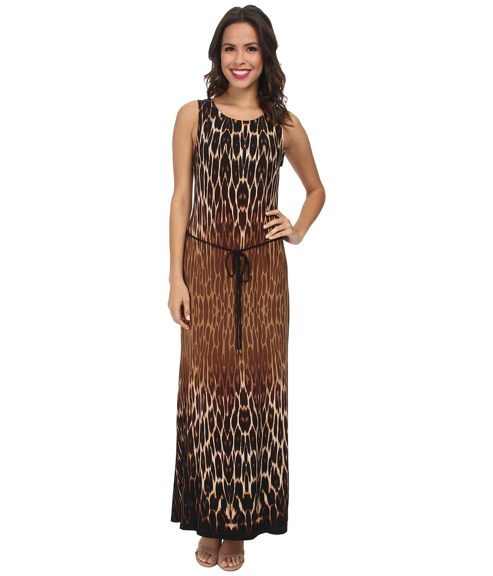 Christin Michaels - Belted Animal Print Maxi Dress (Brown Multi) Women