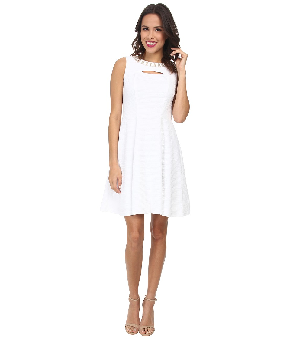 Christin Michaels - Textured Knit Keyhole Dress (White) Women