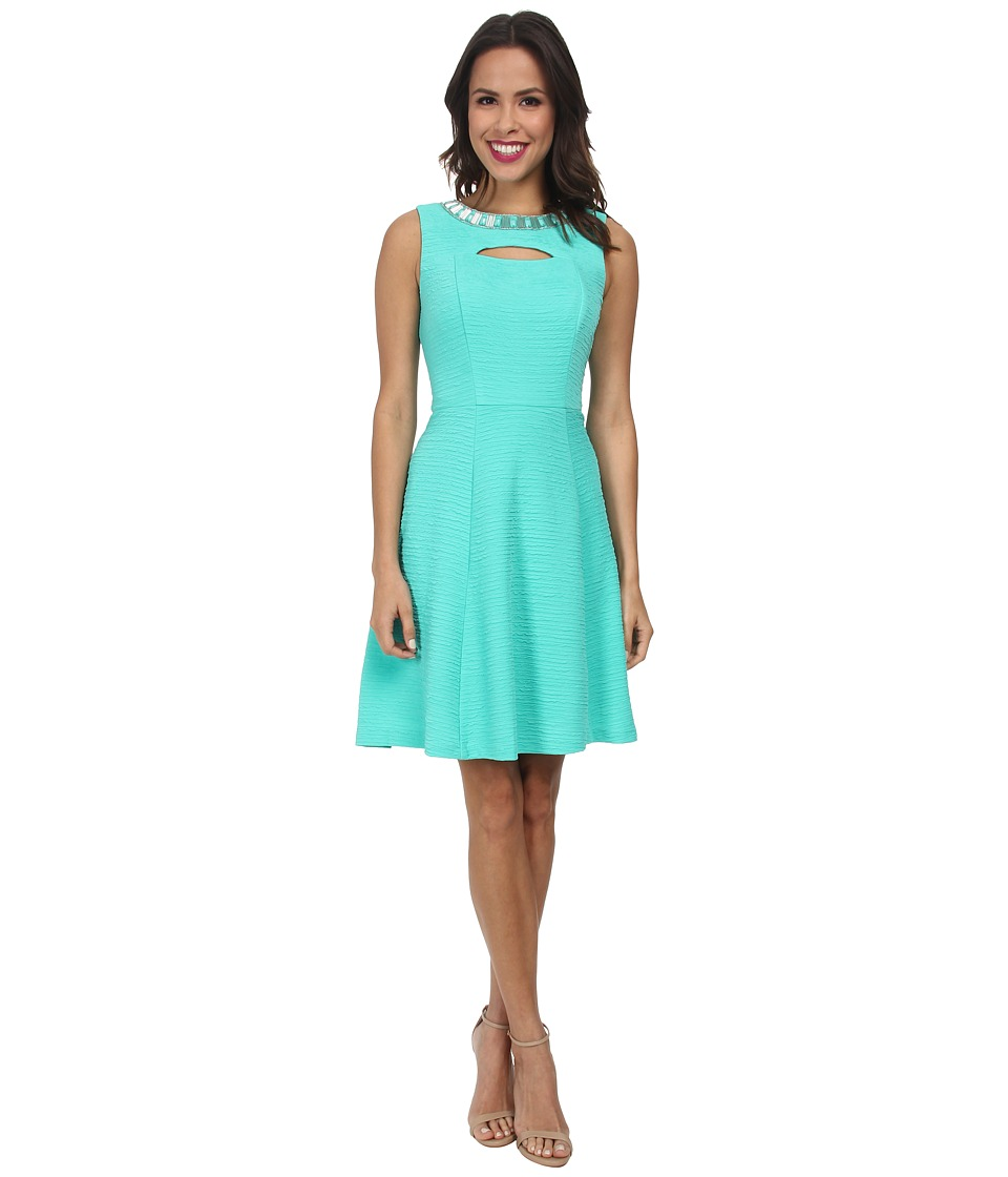 Christin Michaels - Textured Knit Keyhole Dress (Mint) Women's Dress