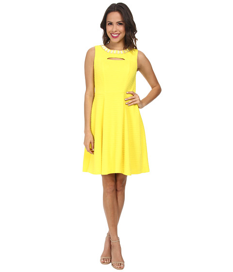 Christin Michaels - Textured Knit Keyhole Dress (Yellow) Women's Dress