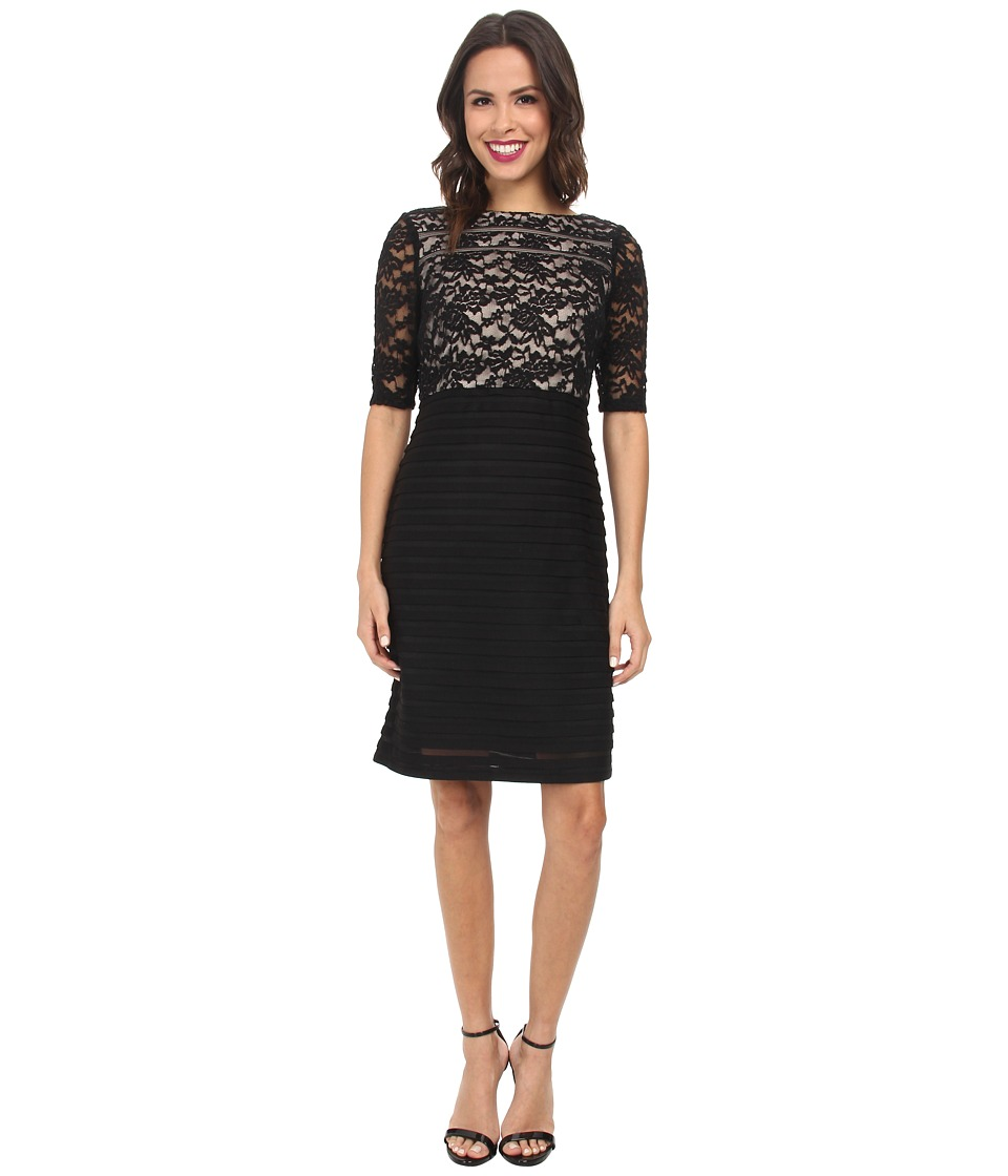 Christin Michaels - Lace Top Sheath Dress (Black) Women's Dress