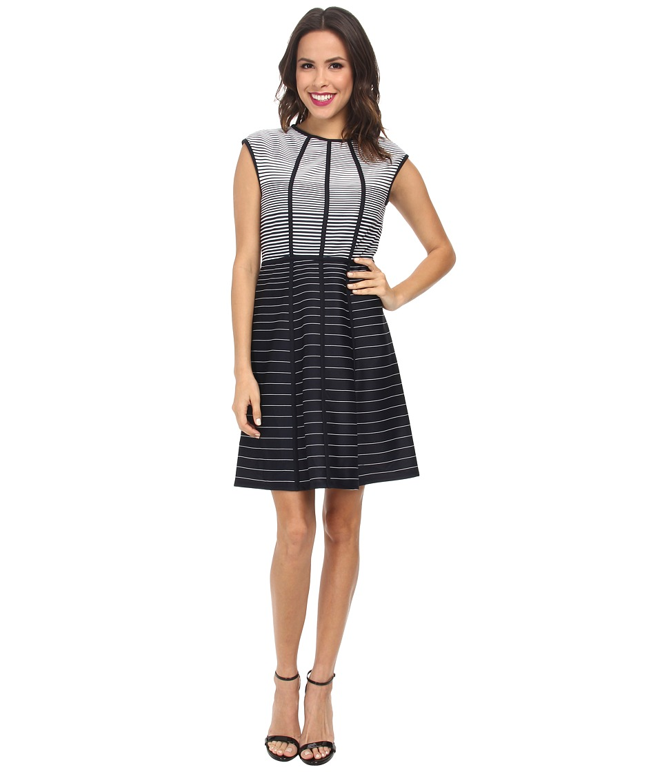 Christin Michaels - Graduated Stripe Dress (Navy/White) Women's Dress