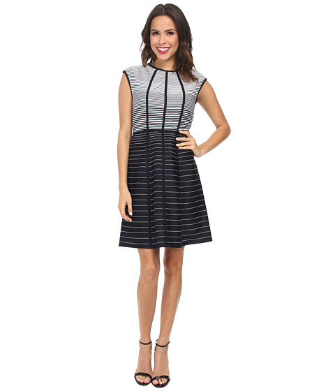 Christin Michaels - Graduated Stripe Dress (Navy/White) Women