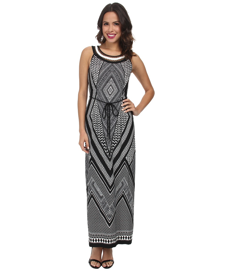 rsvp - Printed Necklace Maxi Dress (Black/White) Women's Dress