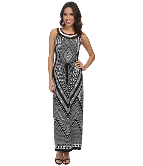 rsvp - Printed Necklace Maxi Dress (Black/White) Women