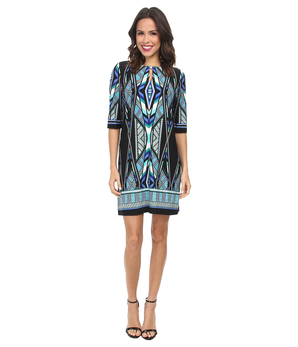 rsvp - Geo Printed Sheath Dress (Black/Green Multi) Women's Dress