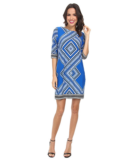 rsvp - Amy Geo Printed Sheath Dress (Black/White/Sky Blue) Women's Dress