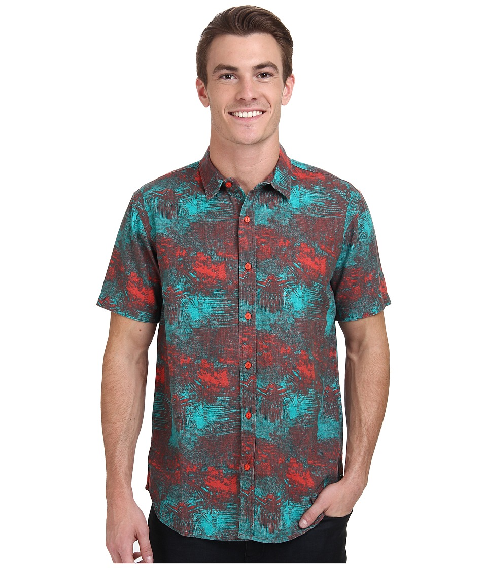 Tavik - Howell Woven (Tropical Green) Men's Short Sleeve Button Up