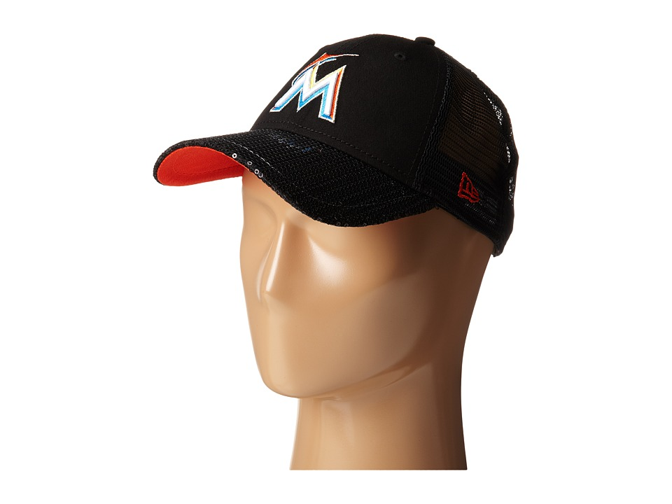 New Era - Sequin Vize Miami Marlins Team (Black) Caps