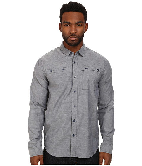 Tavik - Shin L/S Woven (Navy) Men's Long Sleeve Button Up
