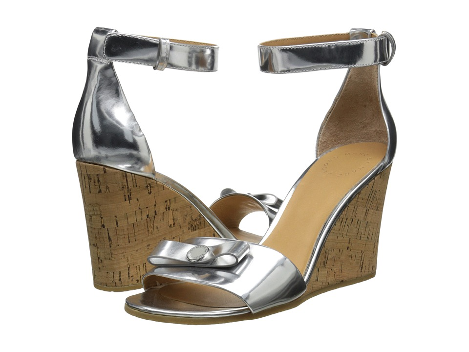 Marc by Marc Jacobs - Logo Disc Wedge Sandal (Silver) Women's Sandals
