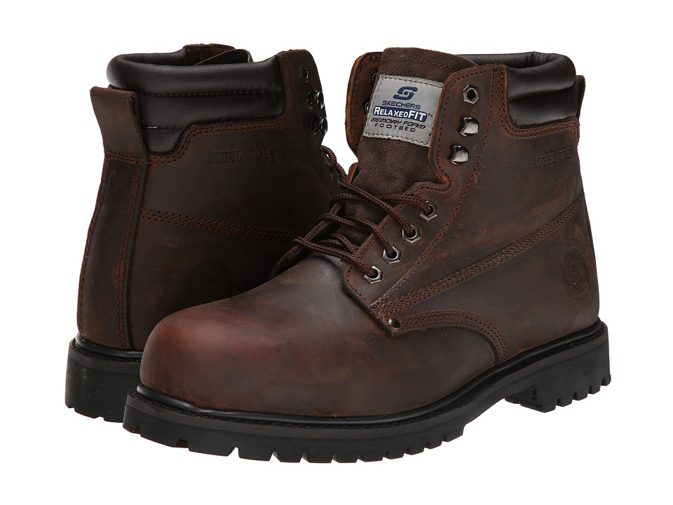 SKECHERS Work - Foreman-Concore ST (Chocolate Dark Brown) Men's Work Lace-up Boots