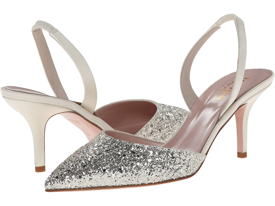Kate Spade New York - Jeanette (Silver Grey Glitter/Ivory Satin) Women