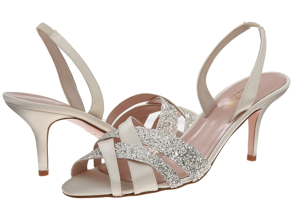 Kate Spade New York - Sasha (Ivory Satin/Silver Grey Glitter) Women's Shoes