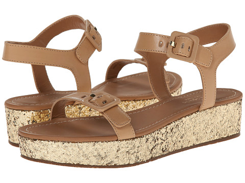 Kate Spade New York - Teigan (Natural Vacchetta/Gold Glitter Heel) Women's Toe Open Shoes
