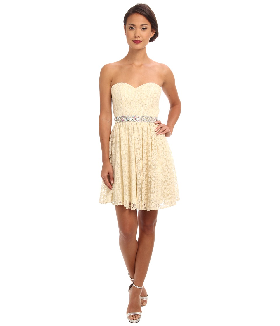 Faviana - Short Lace Dress w/ Open Back 7435 (Ivory/Gold) Women's Dress