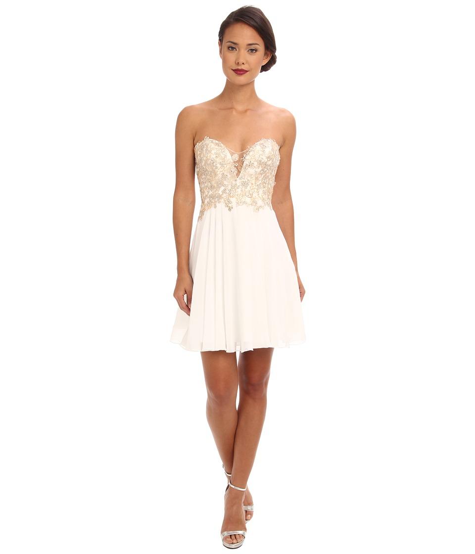 Faviana - Glamour Short Lace Chiffon Dress S7436 (Ivory) Women's Dress