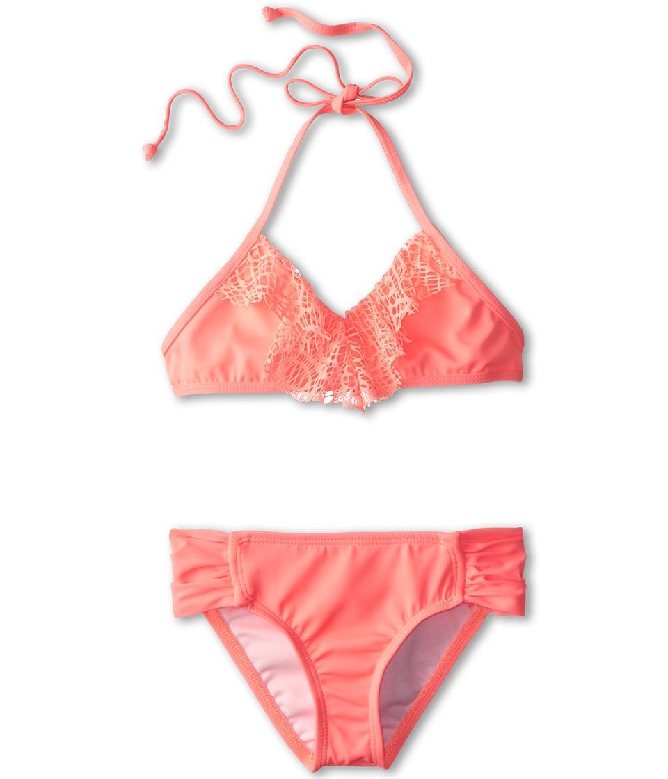 Hurley Kids - Prism Crop Top Tab Side Bottom (Big Kids) (Pink) Girl's Swimwear Sets