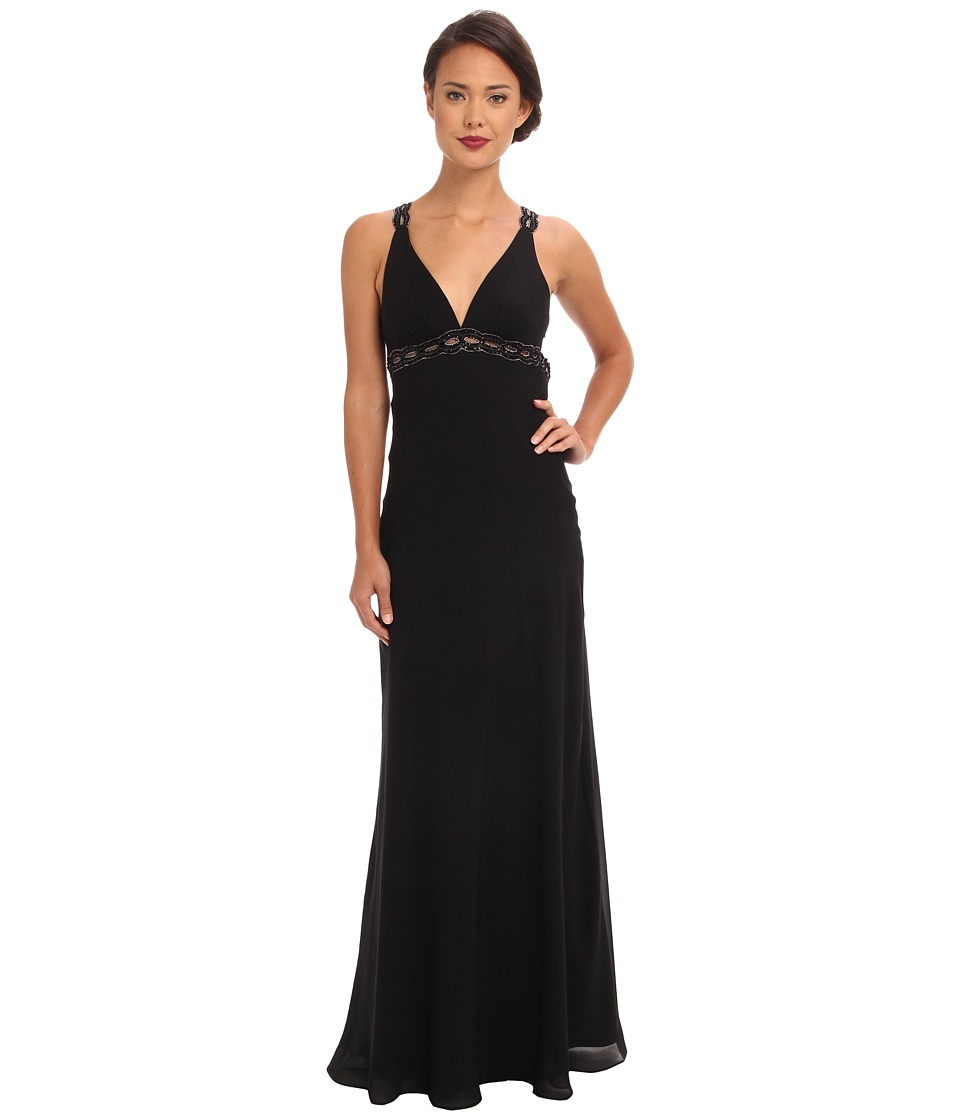 Faviana - V-Neck Chiffon Back Detail Dress 6120 (Black/Black) Women's Dress