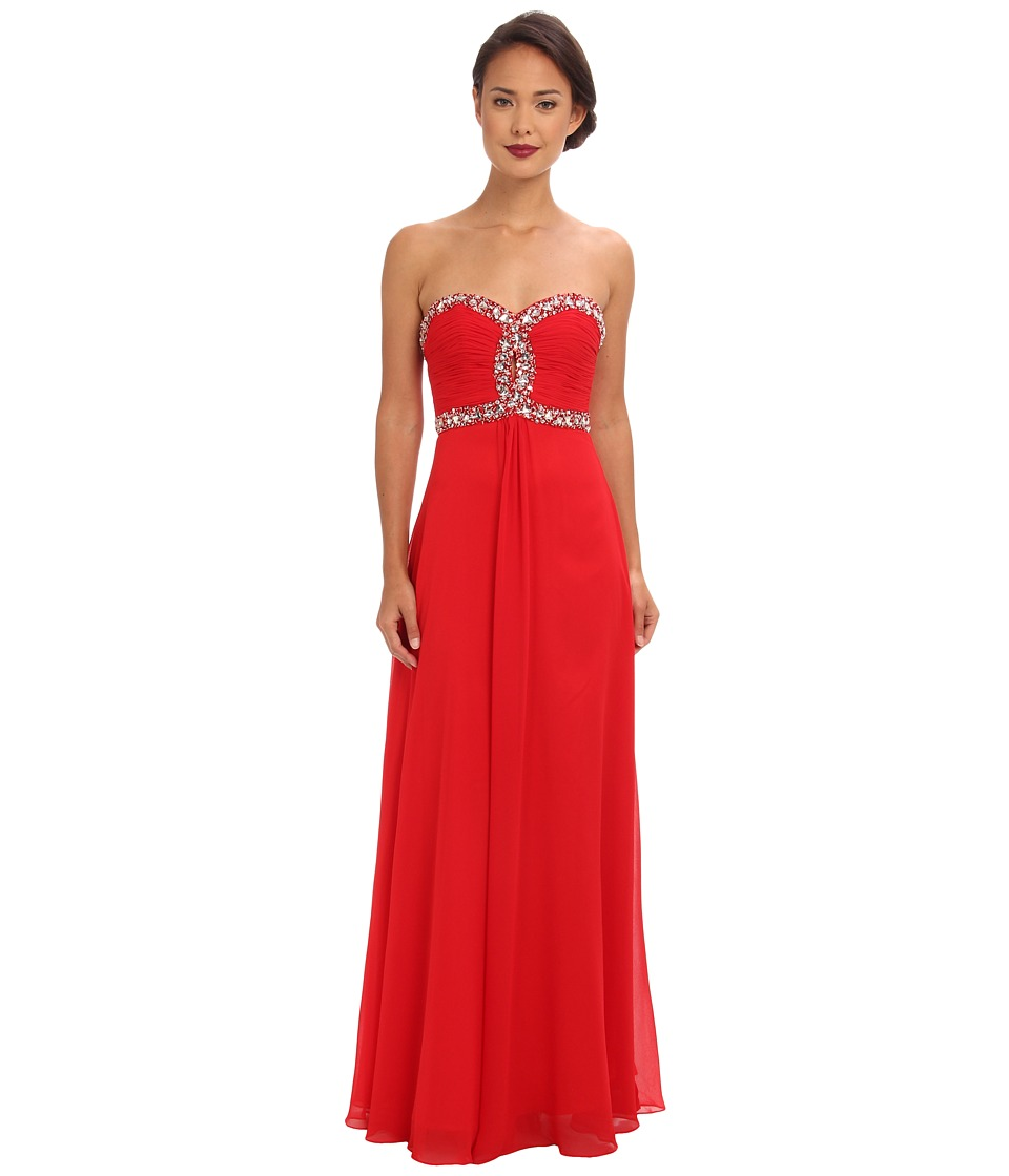 Faviana - Strapless Sweetheart Corset Back Dress 7366 (Red) Women's Dress