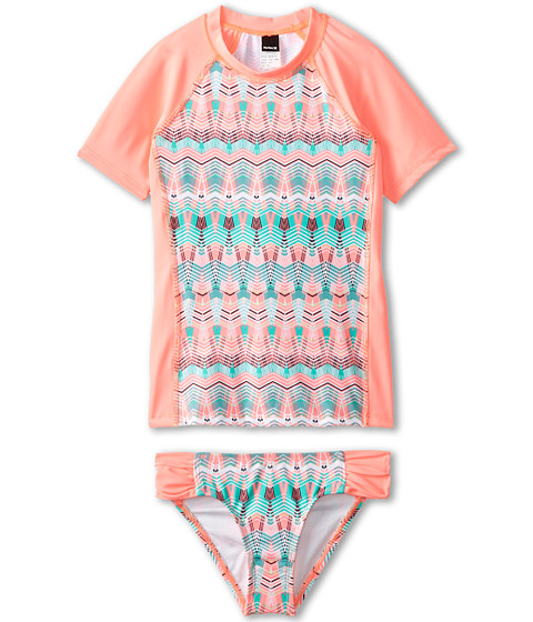 Hurley Kids - Phoenix Surf Shirt Set (Big Kids) (Pink) Girl's Swimwear Sets