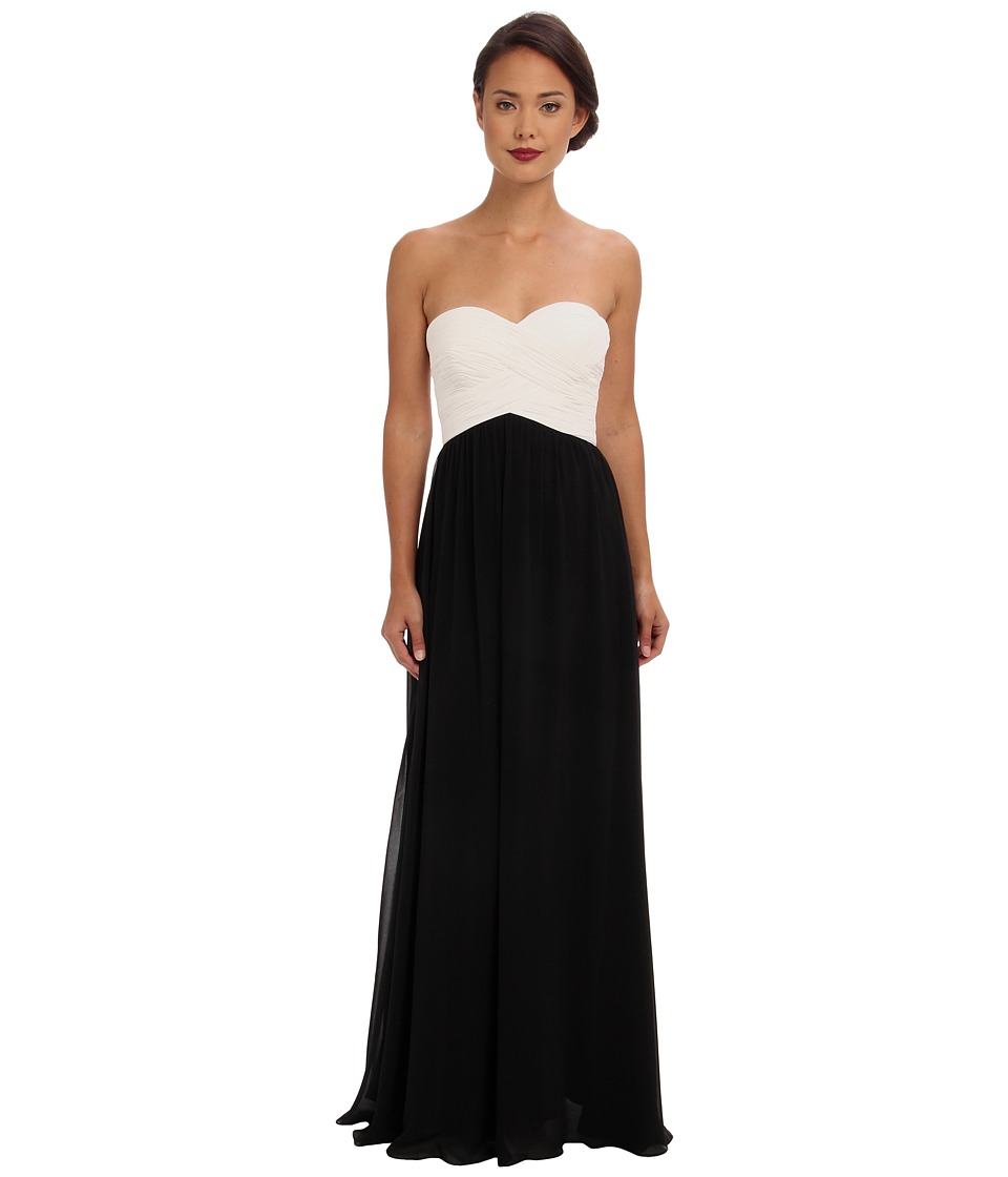 Faviana - Strapless Sweetheart Chiffon Dress 7338 (Ivory/Black) Women's Dress