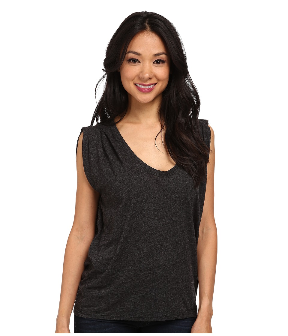 Velvet by Graham & Spencer - Vita02 Cap Sleeve Draped Scoop Neck Tee (Black) Women's T Shirt