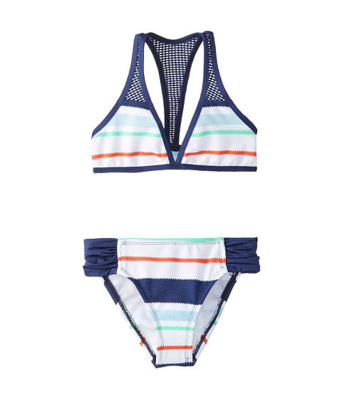 Splendid Littles - Topanga Stripe Halter Tab Side Pant (Big Kids) (Navy) Girl's Swimwear Sets
