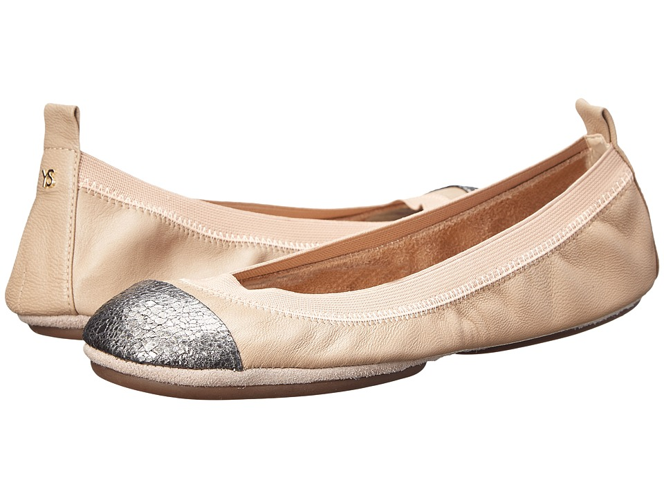 Yosi Samra - Samantha Soft Leather Fold Up Flat w/ Contrast Cap Toe (Rose/Pewter) Women's Flat Shoes