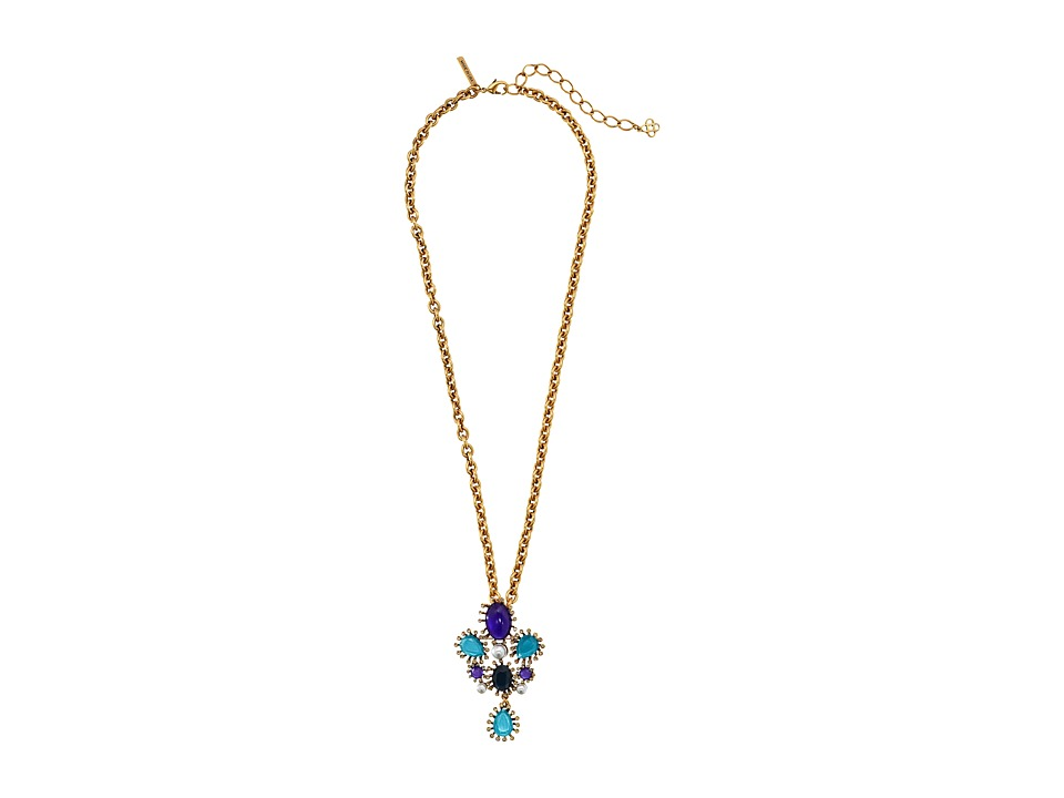 Oscar de la Renta - Star Brooch (Aubergine/Navy/Aqua) Necklace