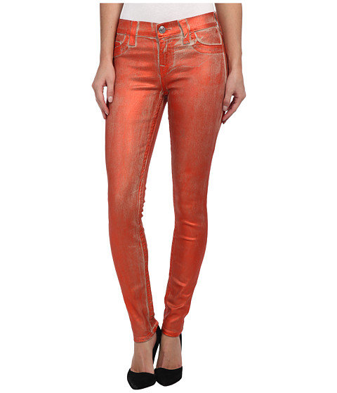True Religion - Halle Metallic Spray Jean in Orange (Orange) Women